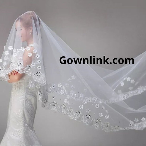 Christian Bridal Catholics Bridal Long Floral White Veil With Comb 2 metre India
