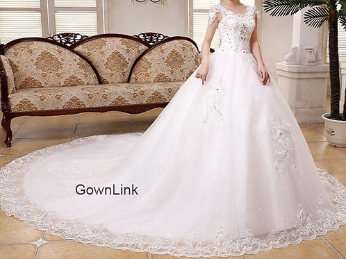 White Christian & Catholics Wedding Long Train Dress GTH343T  With Sleeves