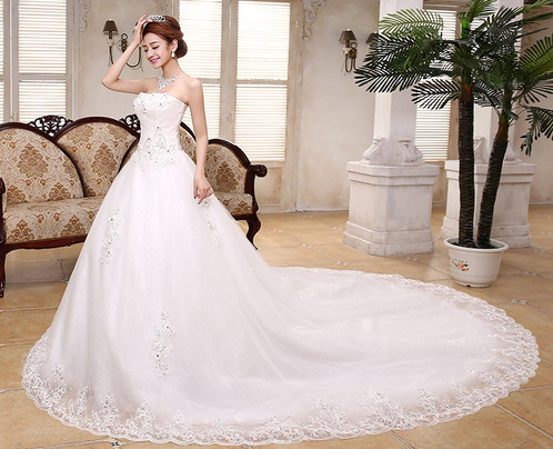 Beautiful White Gown Christian Wedding Dress Special Tube Gown QT43