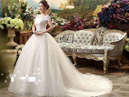 White Christian & Catholics Wedding Long Train Dress MDT With Sleeves
