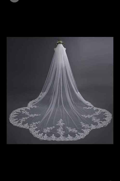 Long Bridal veil GLVAL057 Christian wedding 3 Metre with front layer  India