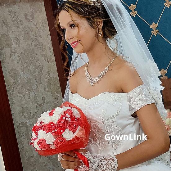 Christian Bridal Round Bouquet White Flowers India Bridal Bouquet R