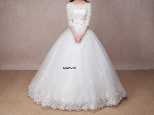 Christian & Catholics Wedding Bridal Ball Gown  With Sleeves
