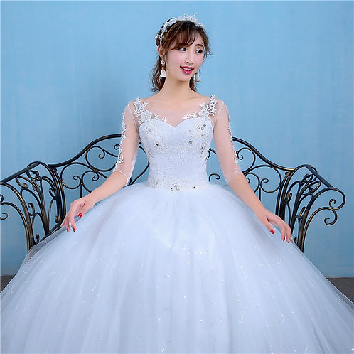 Wedding Gown Special Dress Christian Wedding Special Occasion Sleeves Gown QH89