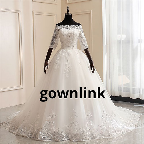 Gownlink Christian Bridal White Long Train Wedfing Dress HS290