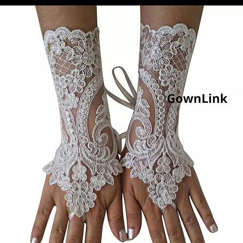 Christian Wedding Catholic Bridal Fingerless White  [18] Gloves