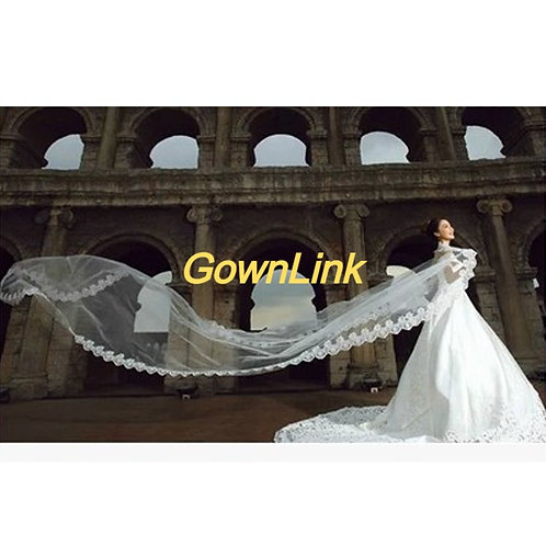 Gownlink Christian Bridal White Long Veil 3 Metre GLV09L With Comb  India