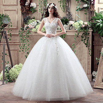 Floral V Neck Christian Gown Beautiful  Wedding Dress Ball Gown HMD16050062