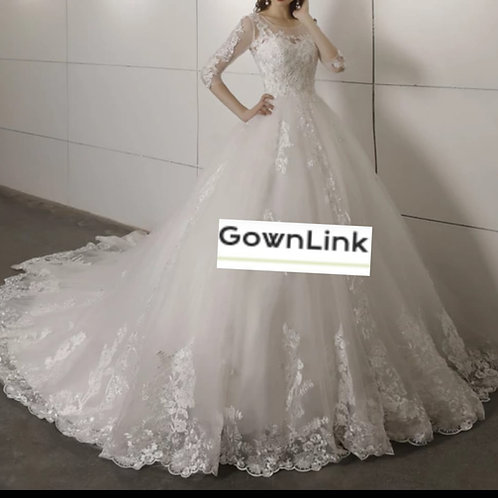 Christian & Catholics Wedding Bridal Train Gown GL59T With Sleeves