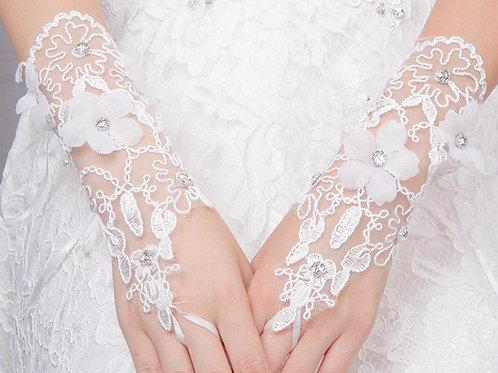 Christian Bridal White Flowers Gloves [4] India