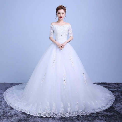Designer Wedding Sleeves Train Dress Y21W | Christian Wedding Gowns Online  In India | India | Gownlink