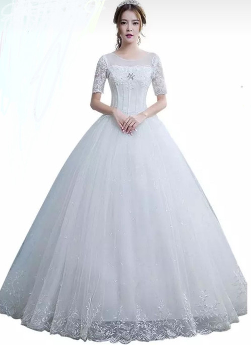 Christian Wedding Gowns TD09 Half Sleeves