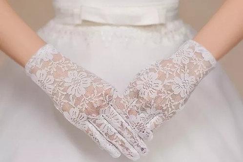 White Bridal Wedding Glives  With Finger Net  India