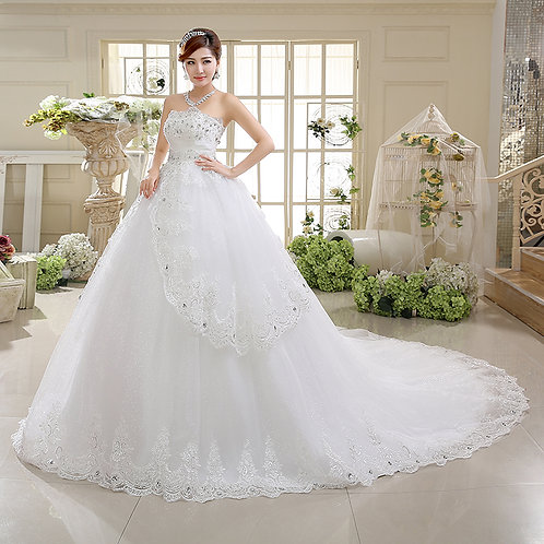 White Christian & Catholics Wedding Long Train Gown HS532 With Sleeves