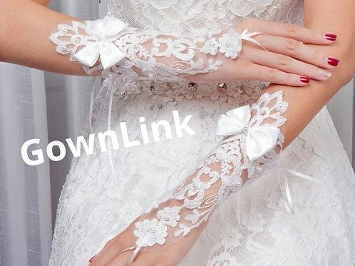 Christian Bridal White Bow Gloves [1] India