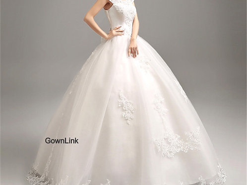 White Beautiful Wedding With Extra Sleeves B05956