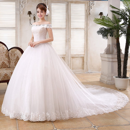 Beautiful White Gown Christian Wedding Dress Special Sleeves Gown QT32