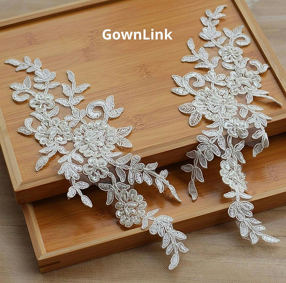 GownLink Lace Fabric Pair White Flowers lace Applique, White Beautiful Patch
