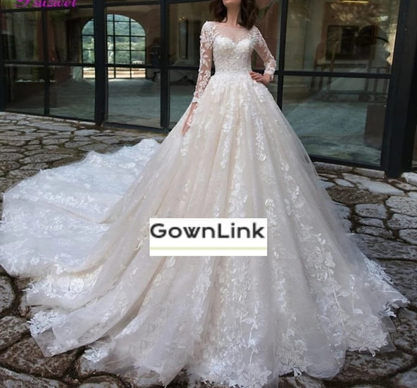 Christian & Catholics Wedding Bridal Train Gown With Sleeves GLGT028