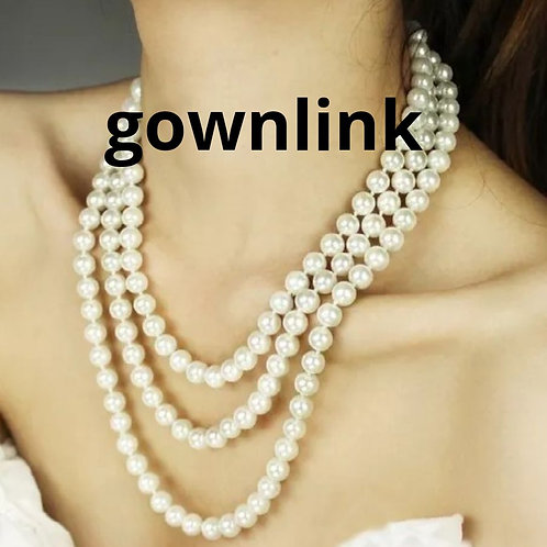Gownlink Pearl White 3 Chain Necklace  India