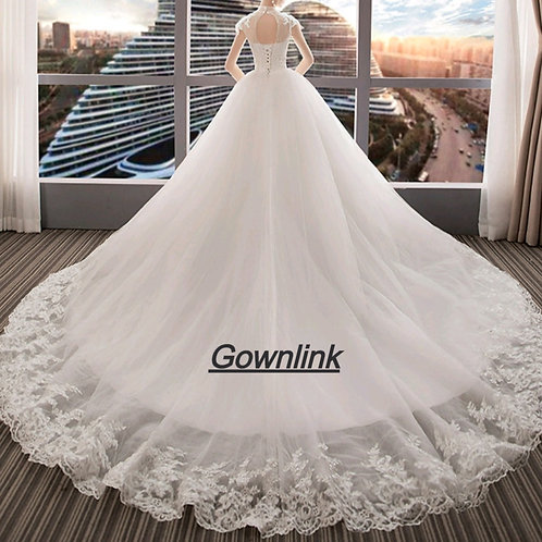 Christian Wedding Catholics Wedding White Train Gown GLVL-W20