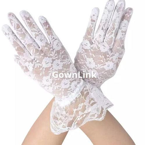 White Bridal Gloves With Finger Net India