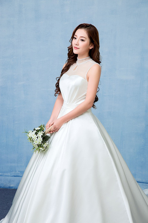 Beautiful White Gown Christian Wedding Dress Special Sleeves Gown QD202