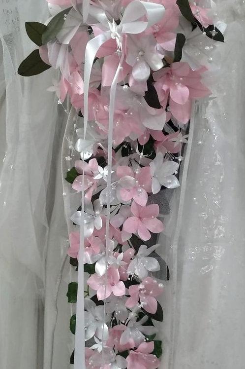 Christian Bridal Long Bouquet Pink & White Flowers  IndiaBouquet-3