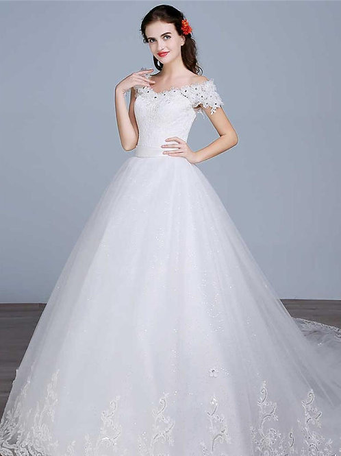 White Christian & Catholics Wedding Long Train Frock HS595T With Sleeves