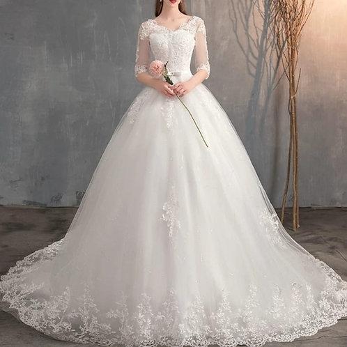 White Christian & Catholics Wedding Long Train Dress  GLGZH-601 With Sleeves