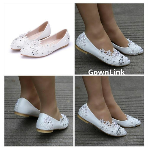 White Bridal Shoes Wedding Shoes GownLink India
