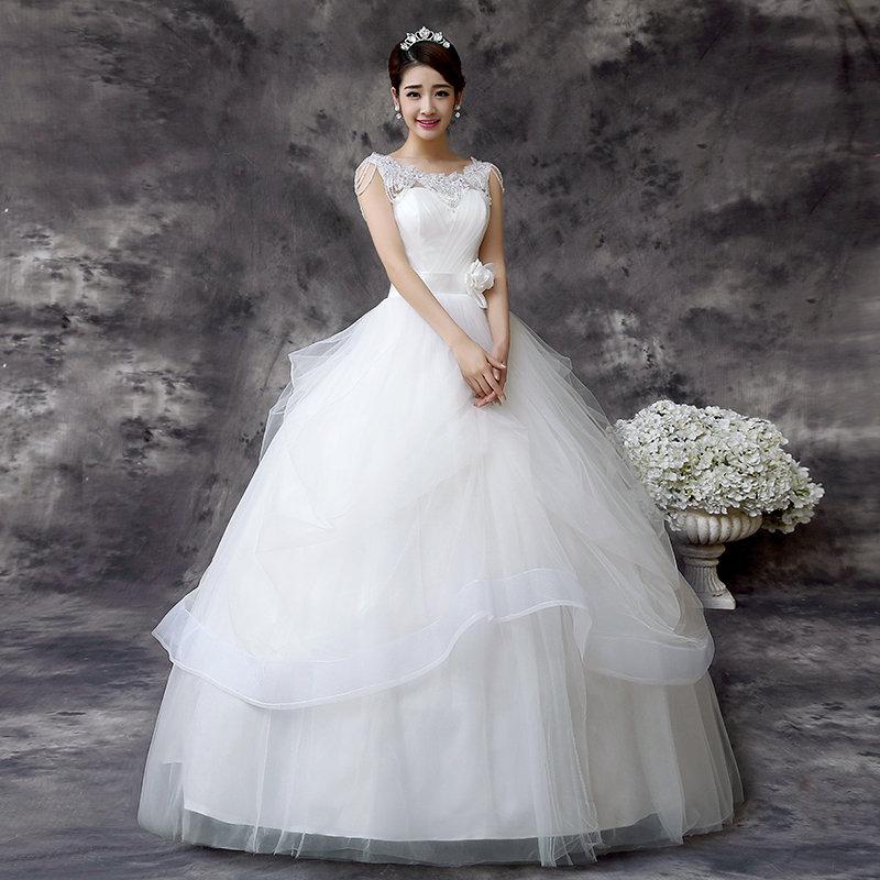 Christian Wedding White Gown: White Ball Gown Wedding / Christian Dress QD60