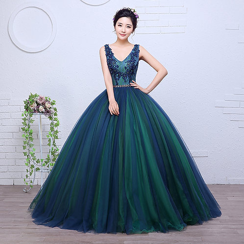 Green New Wedding Party  Sleevless Party Gown Dress RR2081