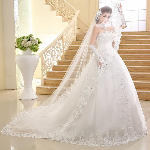 White Christian  Tube Wedding Special gown QHS569