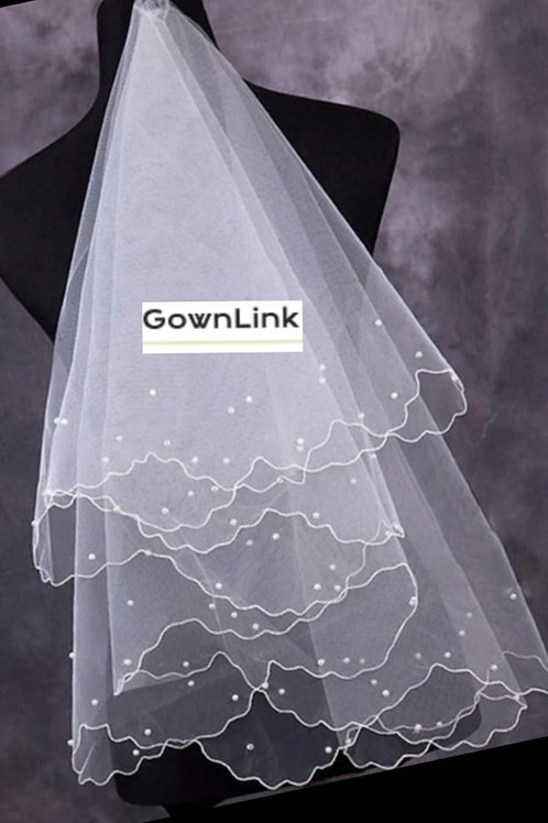 Christian Bridal White Short Veil V 2  With Front Layer 1.5 Meter GownLink India