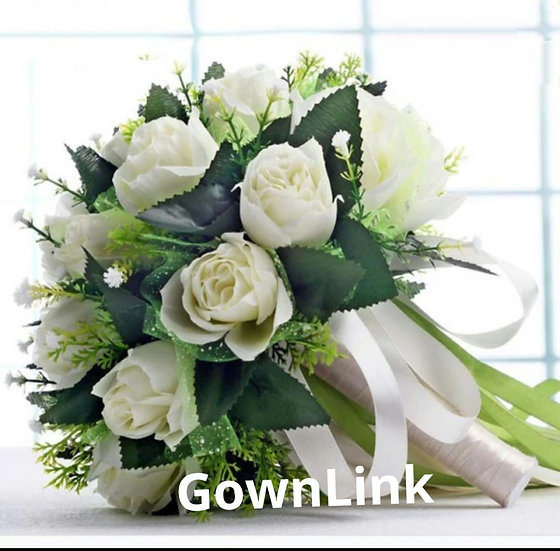 Christian Brides Wedding Bouquet White Flowers India Bridal Bouquet Code-100
