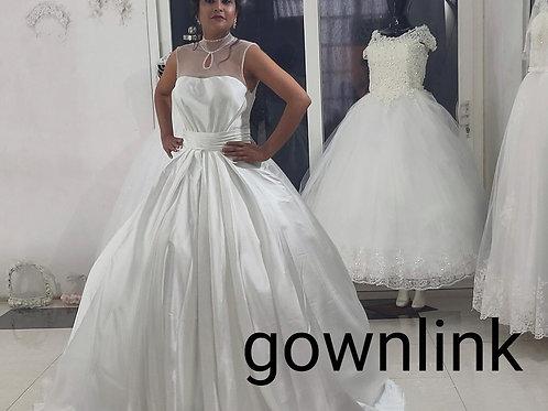 White Christian & Catholics Wedding Long Train Frock GLQD202  With Sleeves
