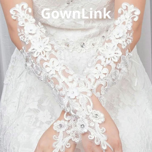 Christian Bridal White Bow Gloves  India