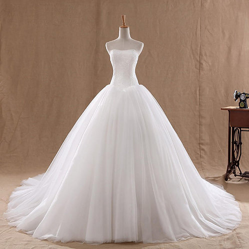 White Christian & Catholics Wedding Long Train Gown M013T  With Sleeves