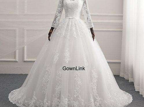 White Christian & Ctholics Wedding Long Train Dress GLR015 With Sleeves
