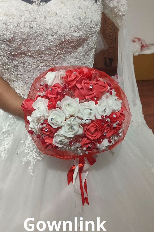 Christian Bridal Pink  Rose Bouquet With Stones  India B 61