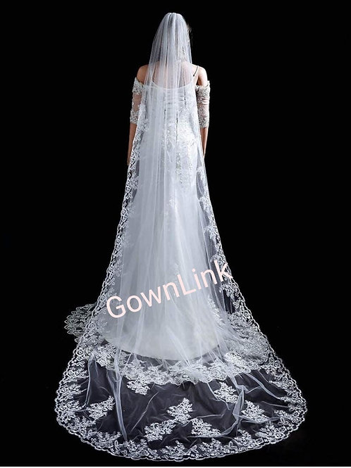 Gownlink  Christian Bridal Long Veils 2 with front Layer GLVHM-2