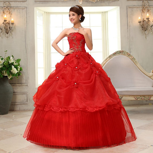 Red Designer Wedding Dresses Tube Neck Evening Party Gown H12P-1