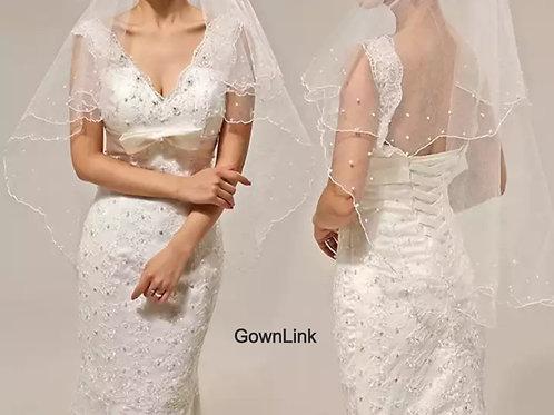 Christian Bridal Pearl Short Veil ( 53*39 Inch)