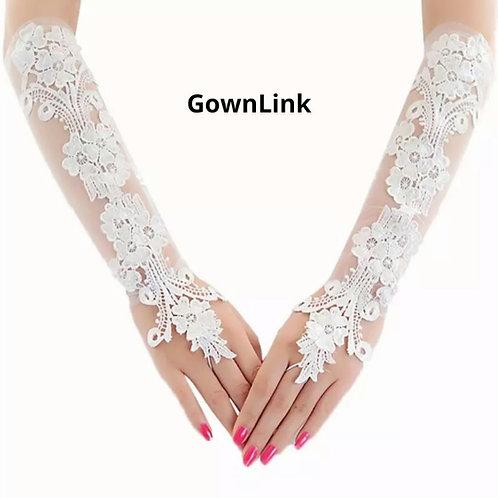 Christian Bridal White Flowers Gloves  [13] India