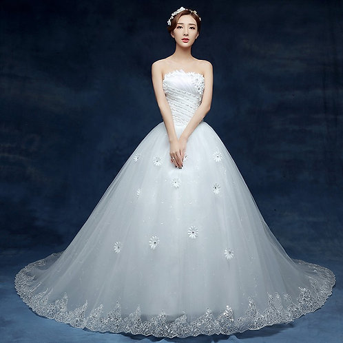 White Christian & Catholics Wedding Long Train Gown T1620 With Sleeves