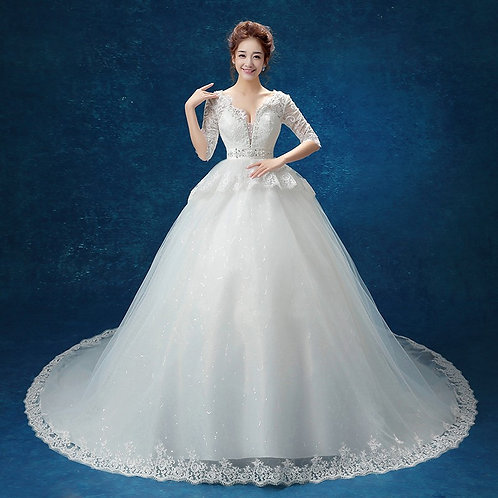 White Christian & Catholics Wedding Long Train Gown QT189 With Sleeves