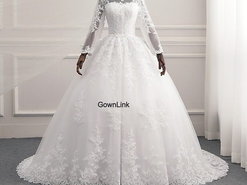 White Christian & Catholics  Wedding Long Train Dress GLR015 With Sleeves