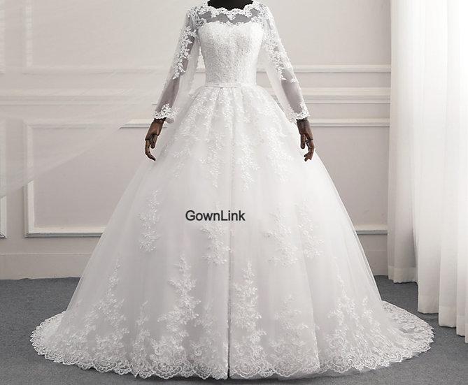 White Christian & Catholics  Wedding Long Train Dress GLR015 With Sleeves