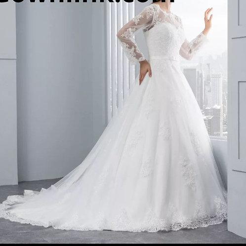 Christian Wedding Gowns Catholics White Train A Line Dress GL190221-4 India